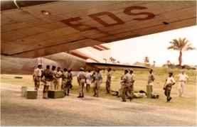 Troops waiting to embark SE-EDS. Photo: Transair Sunjet Set picture archives